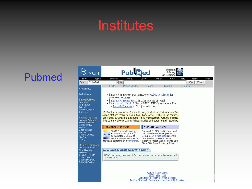 Institutes Pubmed