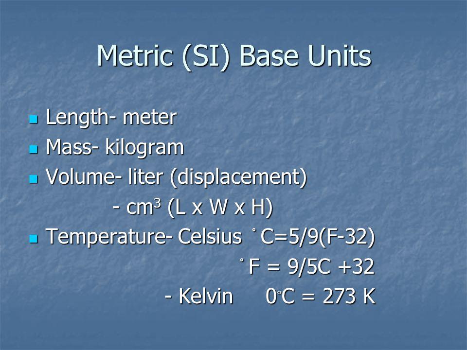Metric (SI) Base Units Length- meter Length- meter Mass- kilogram Mass- kilogram Volume- liter (displacement) Volume- liter (displacement) - cm 3 (L x W x H) - cm 3 (L x W x H) Temperature- Celsius C=5/9(F-32) Temperature- Celsius C=5/9(F-32) F = 9/5C +32 F = 9/5C +32 - Kelvin 0 ◦ C = 273 K - Kelvin 0 ◦ C = 273 K