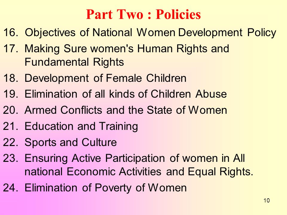 10 Part Two : Policies 16. Objectives of National Women Development Policy 17.