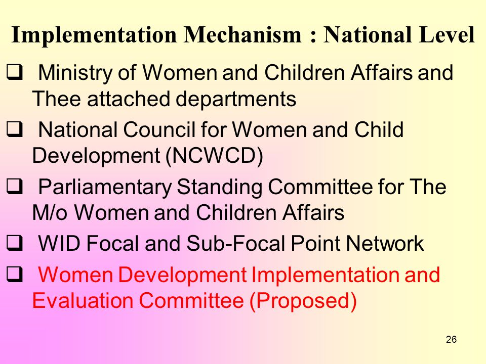 26 Implementation Mechanism : National Level  Ministry of Women and Children Affairs and Thee attached departments  National Council for Women and C