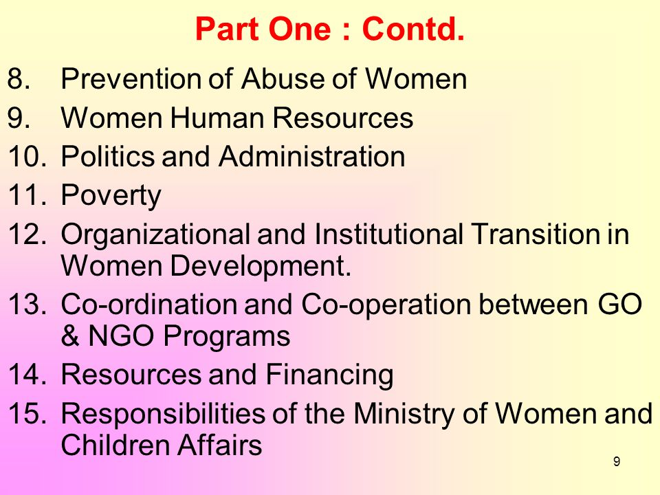 9 Part One : Contd. 8. Prevention of Abuse of Women 9. Women Human Resources 10. Politics and Administration 11. Poverty 12. Organizational and Instit