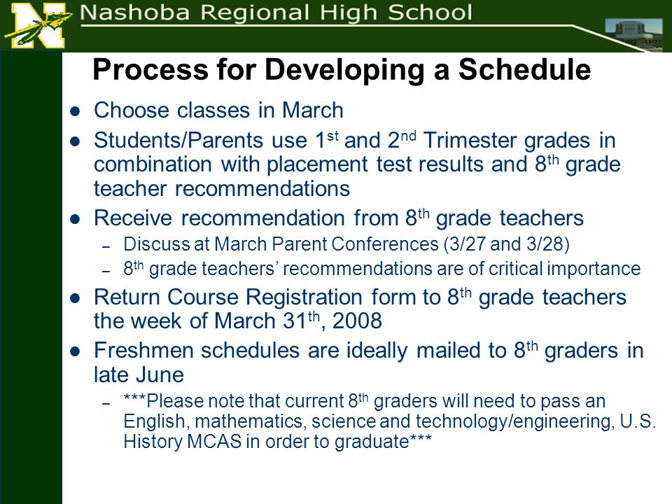 Process for Developing a Schedule Choose classes in March Students/Parents use 1 st and 2 nd Trimester grades in combination with placement test results and 8 th grade teacher recommendations Receive recommendation from 8 th grade teachers – Discuss at March Parent Conferences (3/27 and 3/28) – 8 th grade teachers' recommendations are of critical importance Return Course Registration form to 8 th grade teachers the week of March 31 th, 2008 Freshmen schedules are ideally mailed to 8 th graders in late June – ***Please note that current 8 th graders will need to pass an English, mathematics, science and technology/engineering, U.S.