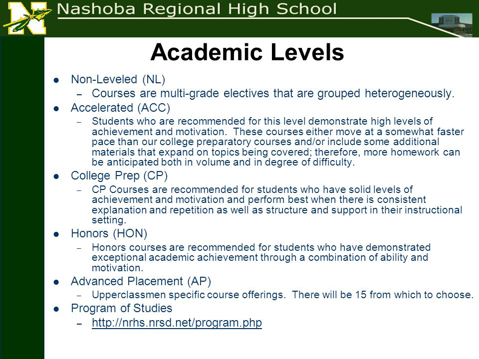 Academic Levels Non-Leveled (NL) – Courses are multi-grade electives that are grouped heterogeneously.