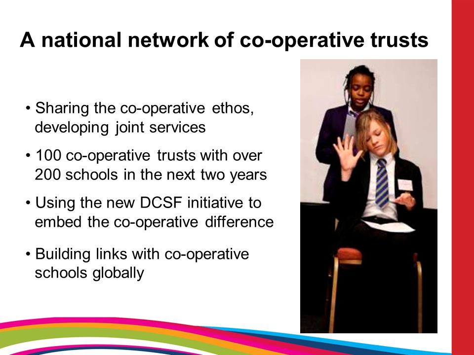 A national network of co-operative trusts Sharing the co-operative ethos, developing joint services 100 co-operative trusts with over 200 schools in t