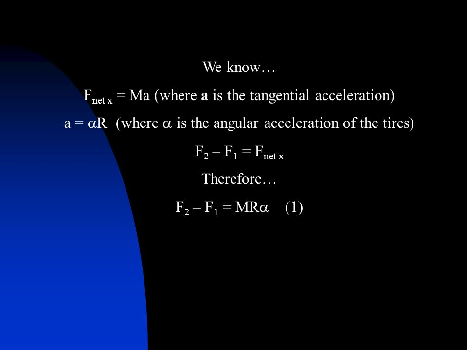 We know… F net x = Ma (where a is the tangential acceleration) a =  R (where  is the angular acceleration of the tires) F 2 – F 1 = F net x Therefor