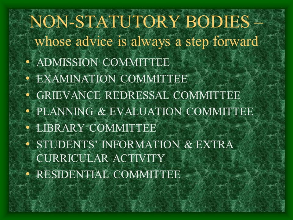 STATUTORY BODIES THAT GUIDE US EXECUTIVE COMMITTEE ACADEMIC COUNCIL FINANCE COMMITTEE BOARDS OF STUDIES