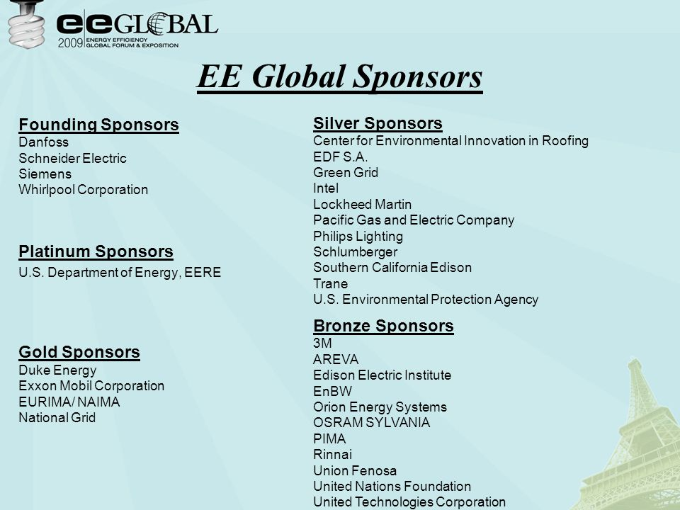 EE Global Sponsors Founding Sponsors Danfoss Schneider Electric Siemens Whirlpool Corporation Platinum Sponsors U.S.