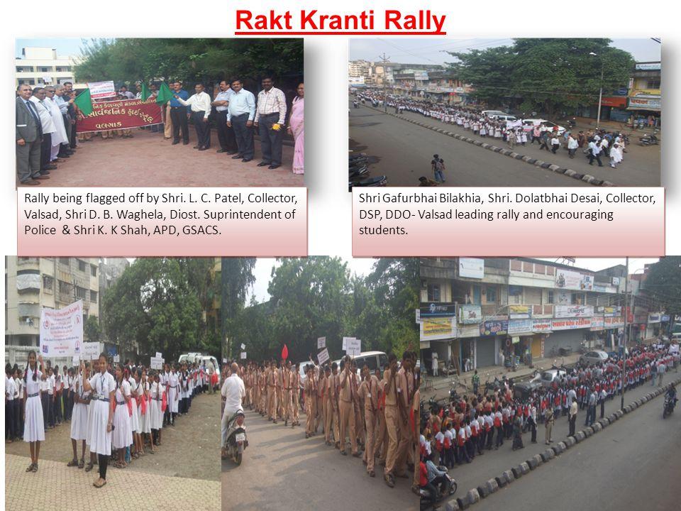 Rally being flagged off by Shri. L. C. Patel, Collector, Valsad, Shri D. B. Waghela, Diost. Suprintendent of Police & Shri K. K Shah, APD, GSACS. Shri