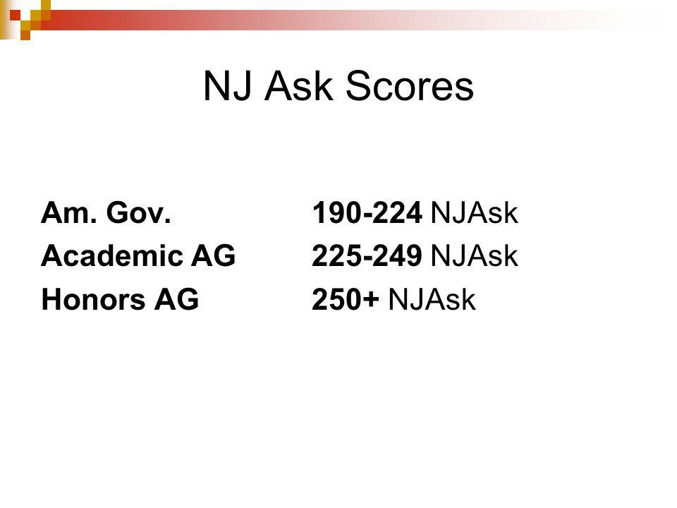 NJ Ask Scores Am. Gov. 190-224 NJAsk Academic AG225-249 NJAsk Honors AG250+ NJAsk