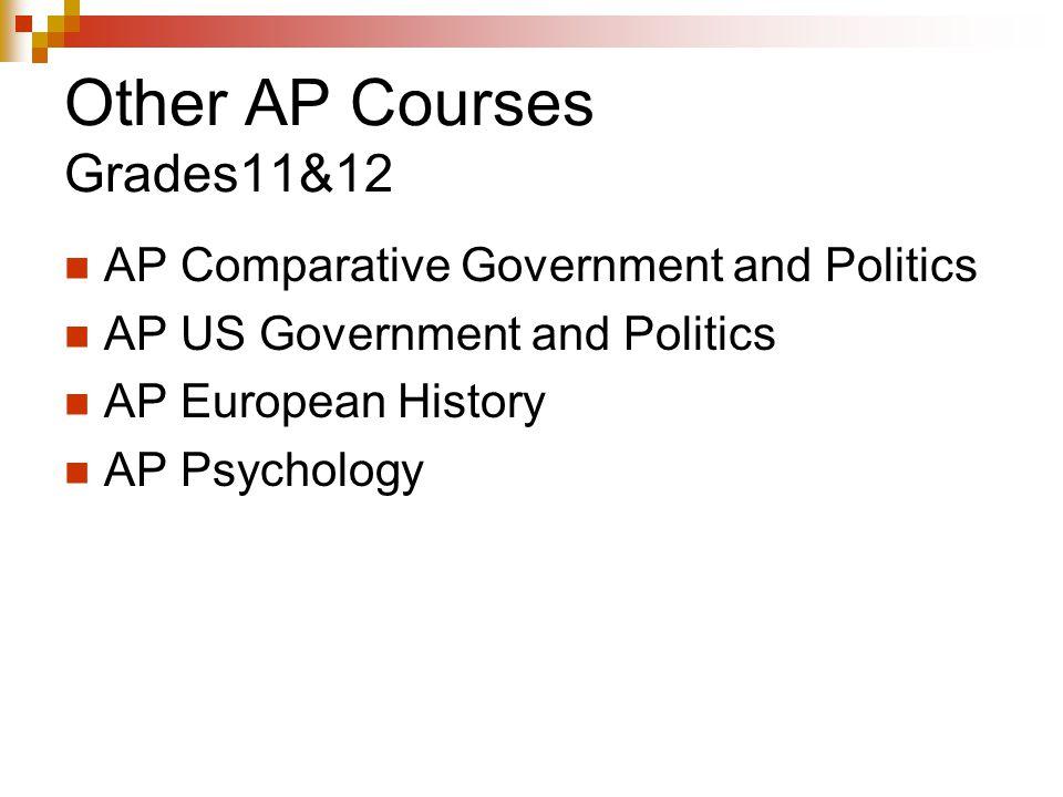 Other AP Courses Grades11&12 AP Comparative Government and Politics AP US Government and Politics AP European History AP Psychology