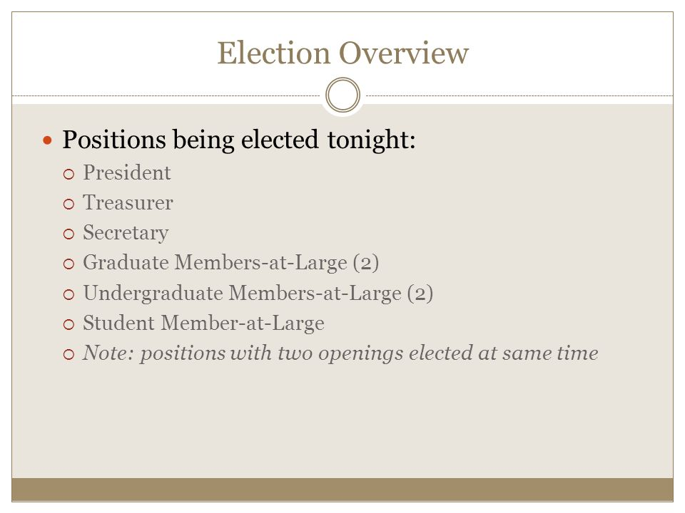 Positions being elected tonight:  President  Treasurer  Secretary  Graduate Members-at-Large (2)  Undergraduate Members-at-Large (2)  Student Member-at-Large  Note: positions with two openings elected at same time Election Overview