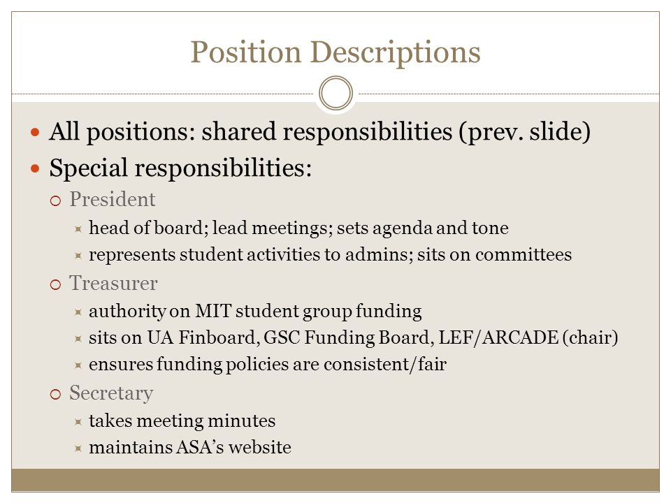 All positions: shared responsibilities (prev.