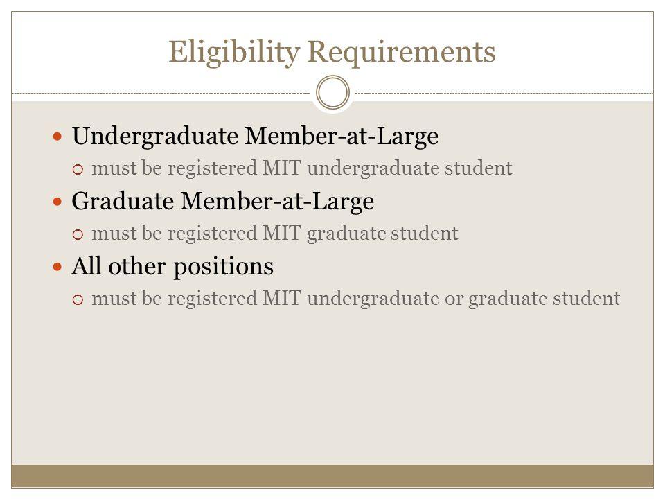 Undergraduate Member-at-Large  must be registered MIT undergraduate student Graduate Member-at-Large  must be registered MIT graduate student All other positions  must be registered MIT undergraduate or graduate student Eligibility Requirements