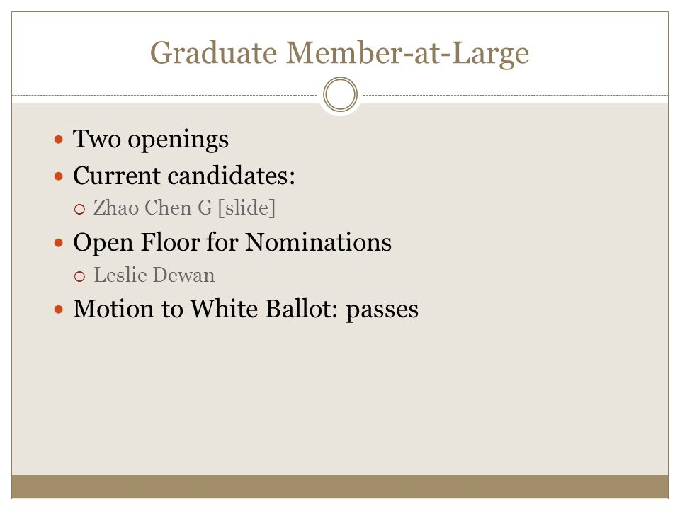 Two openings Current candidates:  Zhao Chen G [slide] Open Floor for Nominations  Leslie Dewan Motion to White Ballot: passes Graduate Member-at-Large