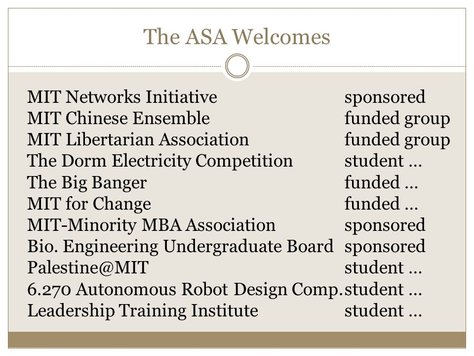 MIT Networks Initiativesponsored MIT Chinese Ensemble funded group MIT Libertarian Association funded group The Dorm Electricity Competition student … The Big Banger funded … MIT for Change funded … MIT-Minority MBA Association sponsored Bio.