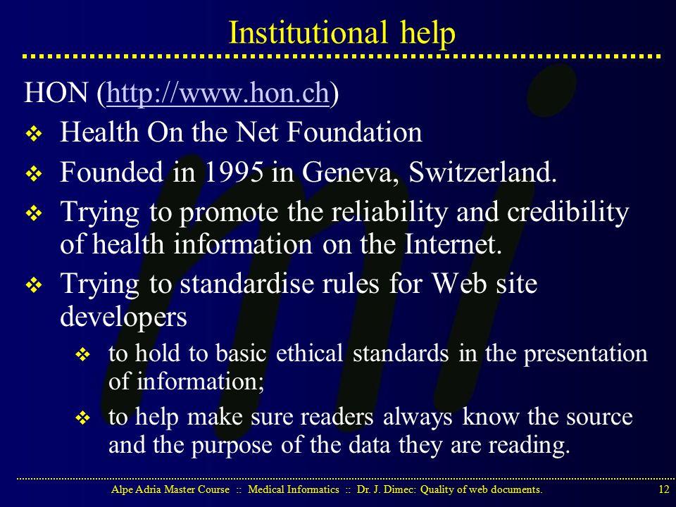 Alpe Adria Master Course :: Medical Informatics :: Dr.