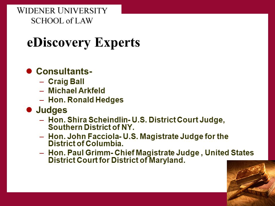 eDiscovery Experts Consultants- –Craig Ball –Michael Arkfeld –Hon. Ronald Hedges Judges –Hon. Shira Scheindlin- U.S. District Court Judge, Southern Di