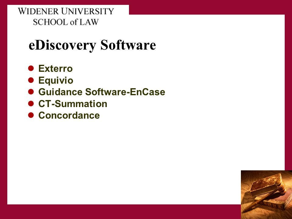 eDiscovery Software Exterro Equivio Guidance Software-EnCase CT-Summation Concordance