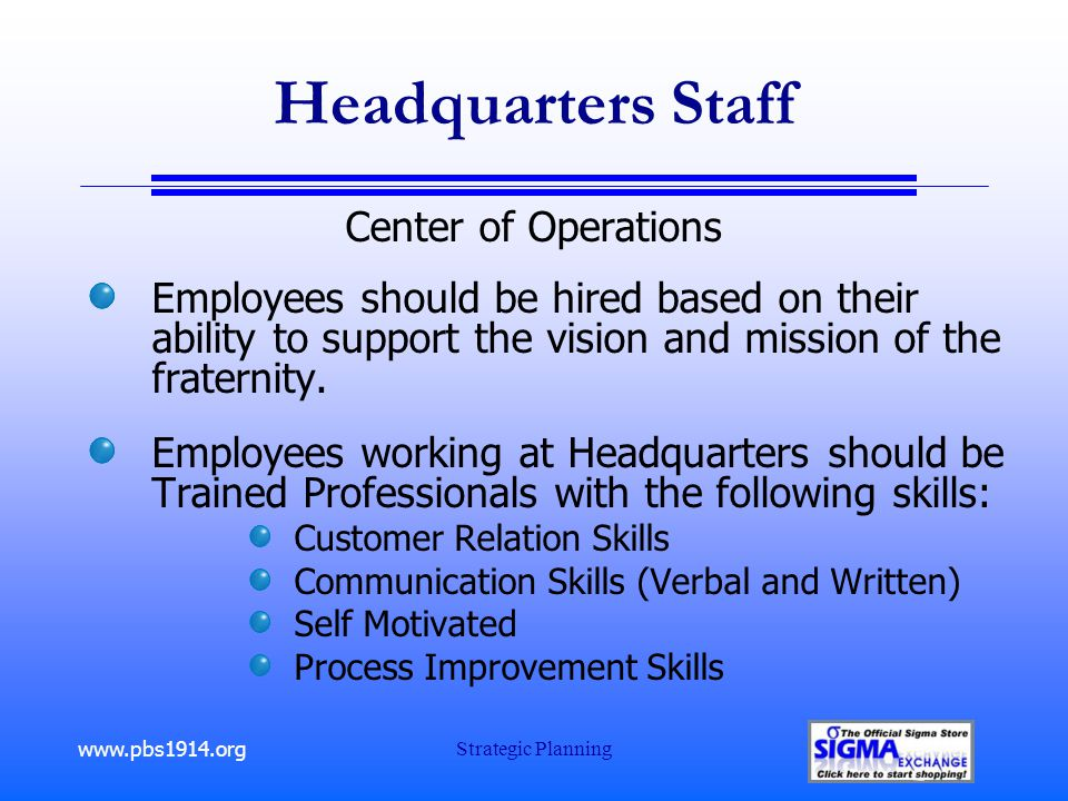 www.pbs1914.org Strategic Planning Headquarters Staff Center of Operations Employees should be hired based on their ability to support the vision and mission of the fraternity.