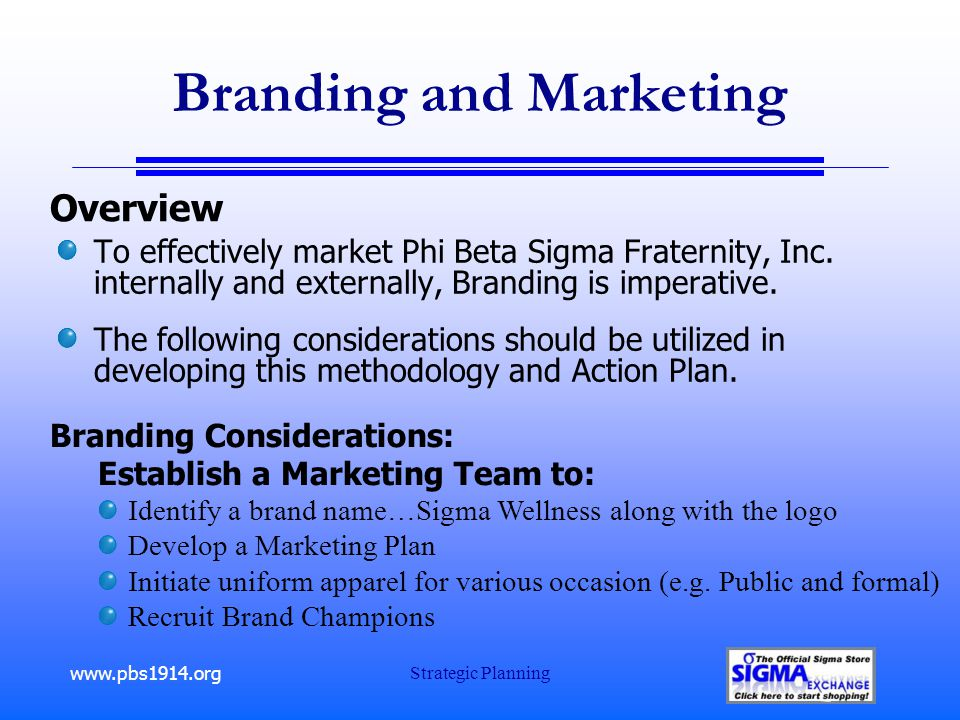 www.pbs1914.org Strategic Planning Branding and Marketing To effectively market Phi Beta Sigma Fraternity, Inc.