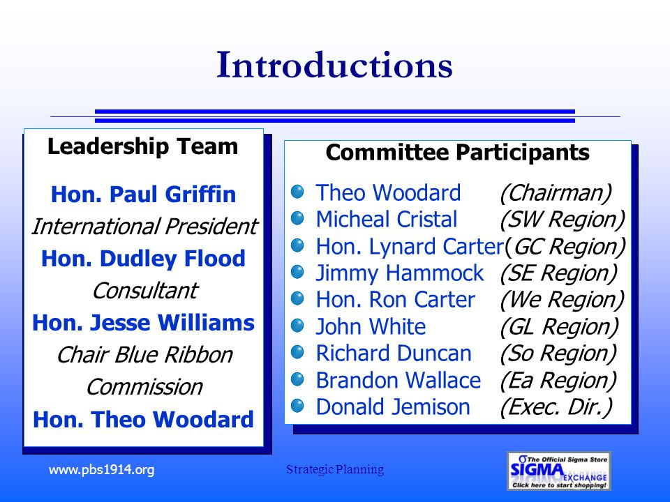 www.pbs1914.org Strategic Planning Introductions Committee Participants Theo Woodard (Chairman) Micheal Cristal (SW Region) Hon.