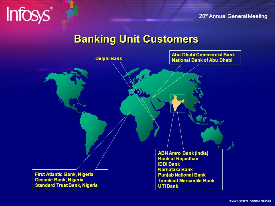"© 2001 Infosys All rights reserved 20 th Annual General Meeting Banking Business Unit Annual banking technology conference-cum-exhibition ""Banking on"