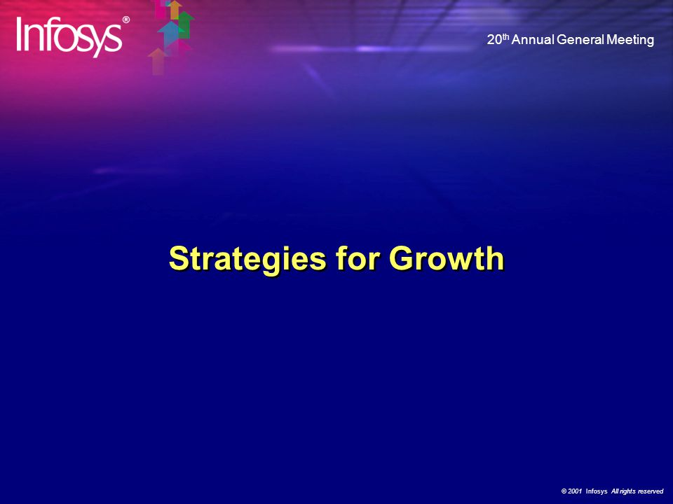 © 2001 Infosys All rights reserved 20 th Annual General Meeting Growth in Customers ABB Alstom Vodafone Networks Schlumberger Siemens Energy & Automation