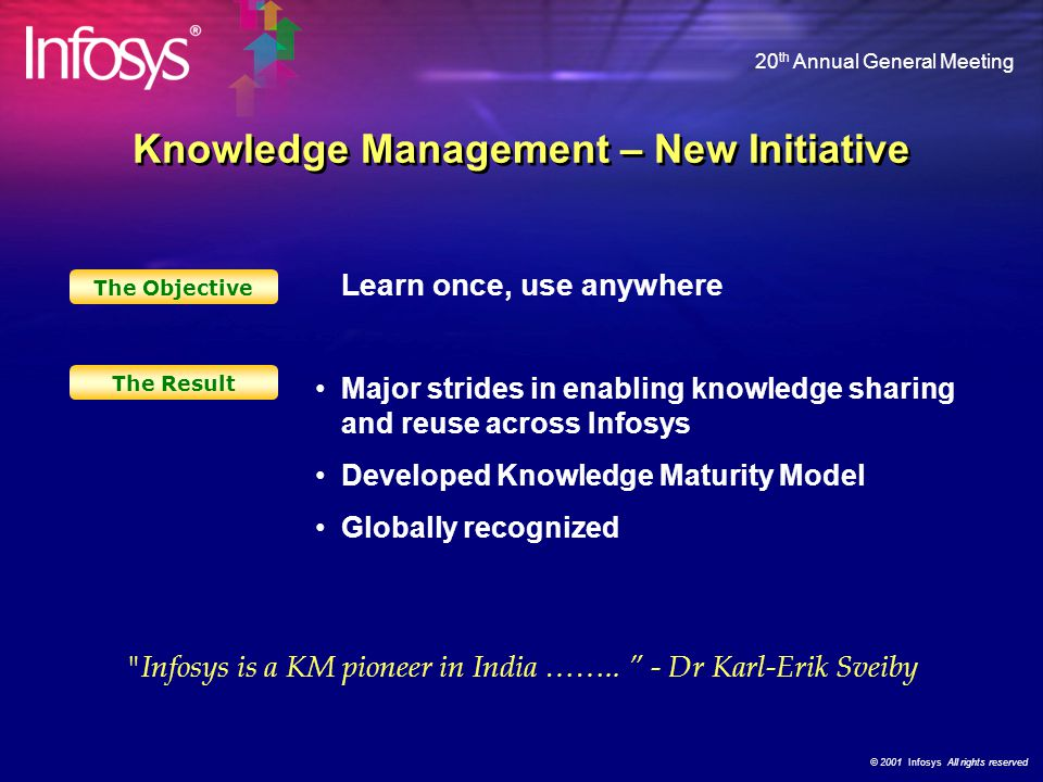 © 2001 Infosys All rights reserved 20 th Annual General Meeting Thought Leaders Task Performers Leadership – The New Generation Community Empathy Lead