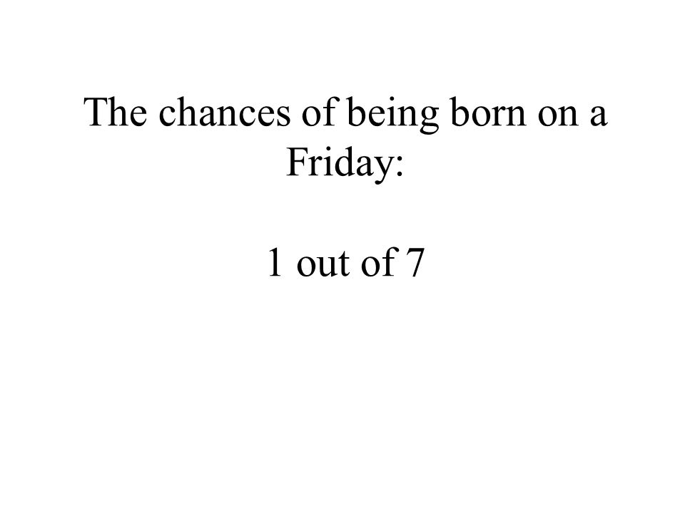 The chances of being born on a Friday: 1 out of 7