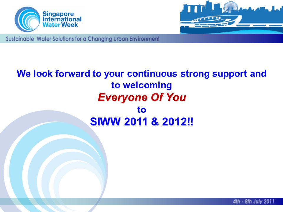 We look forward to your continuous strong support and to welcoming Everyone Of You to SIWW 2011 & 2012!!