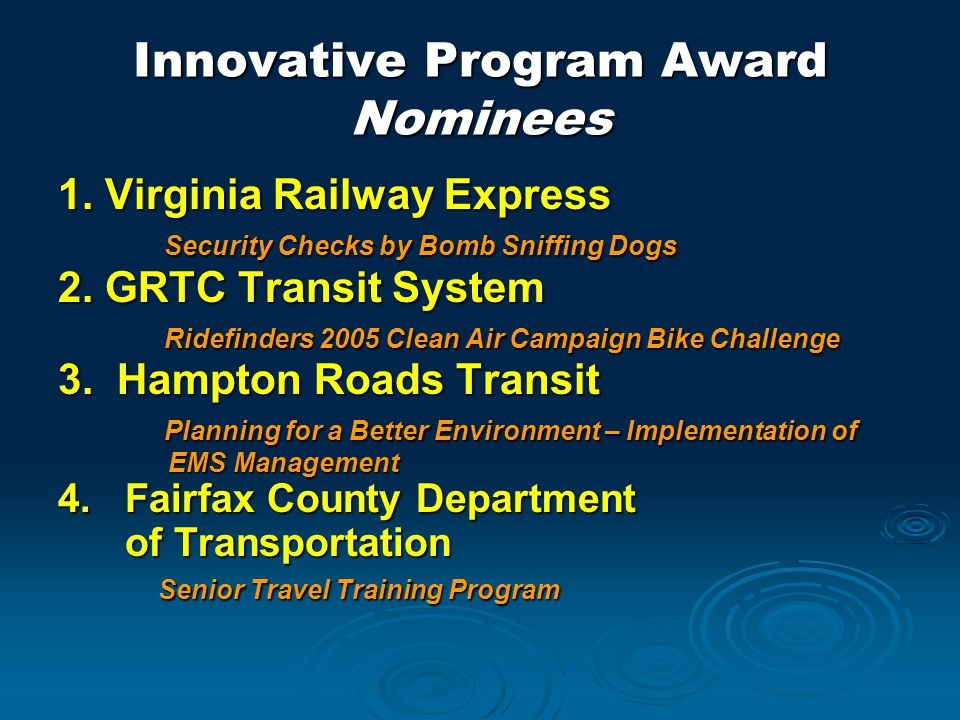 Innovative Program Award Nominees 1.