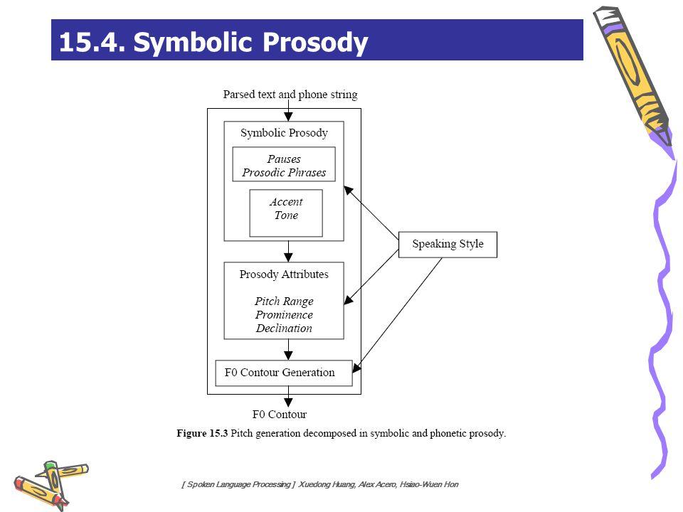 [ Spoken Language Processing ] Xuedong Huang, Alex Acero, Hsiao-Wuen Hon 15.4. Symbolic Prosody