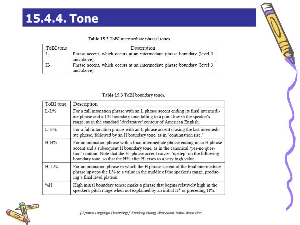 [ Spoken Language Processing ] Xuedong Huang, Alex Acero, Hsiao-Wuen Hon 15.4.4. Tone