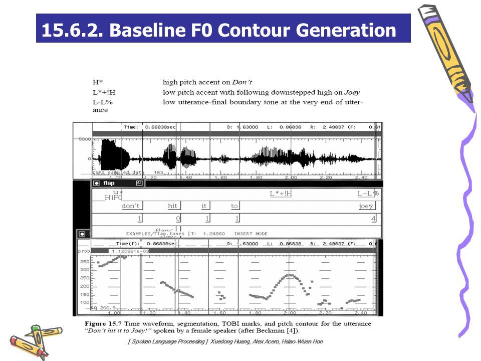 [ Spoken Language Processing ] Xuedong Huang, Alex Acero, Hsiao-Wuen Hon 15.6.2. Baseline F0 Contour Generation