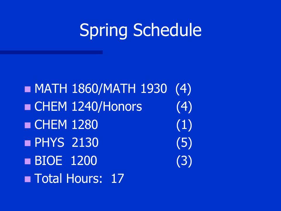 Spring Schedule (4 year plan) MATH 1860/MATH 1930 (4) CHEM 1240/Honors (4) CHEM 1280 (1) PHYS 2130 (5) BIOE 1200 (3) BIOE 1010 (1) Total Hours: 18