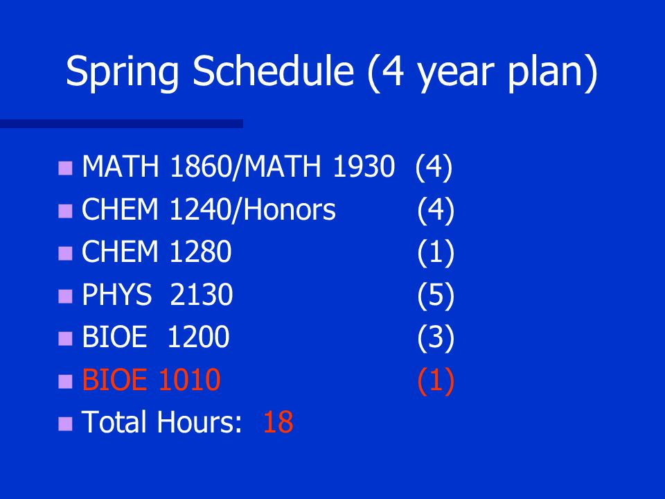 Spring Schedule (4 year plan) MATH 1860/MATH 1930 (4) CHEM 1240/Honors (4) CHEM 1280 (1) PHYS 2130 (5) BIOE 1200 (3) BIOE 1010 (1) Total Hours: 18