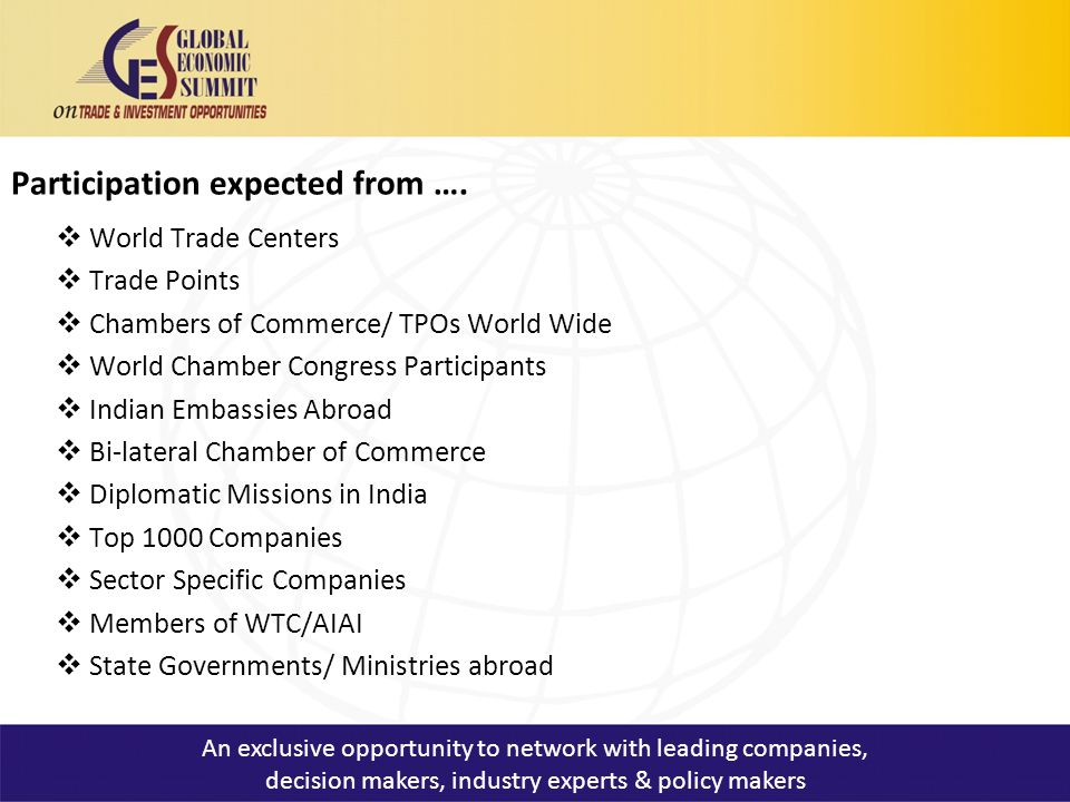Participation expected from ….