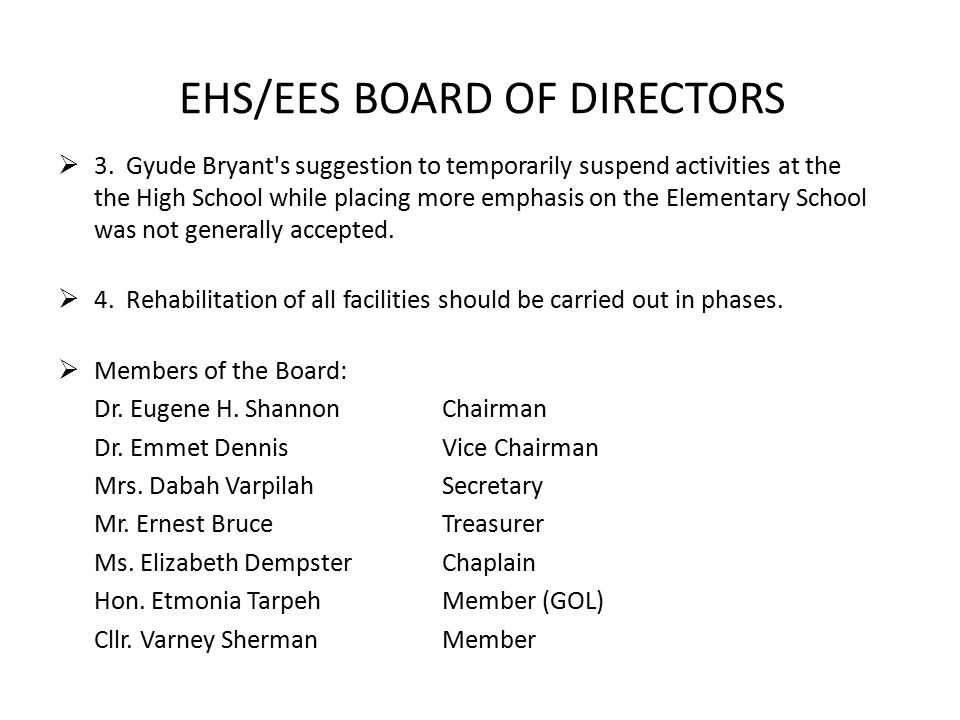 EHS/EES BOARD OF DIRECTORS  3.