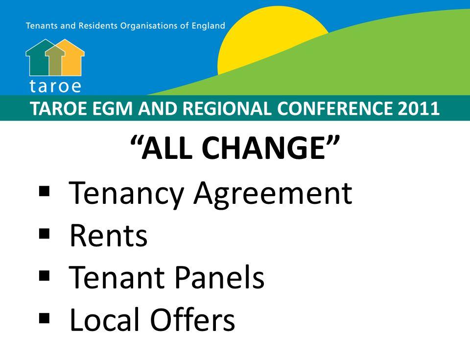 TAROE EGM AND REGIONAL CONFERENCE 2011 Apologies