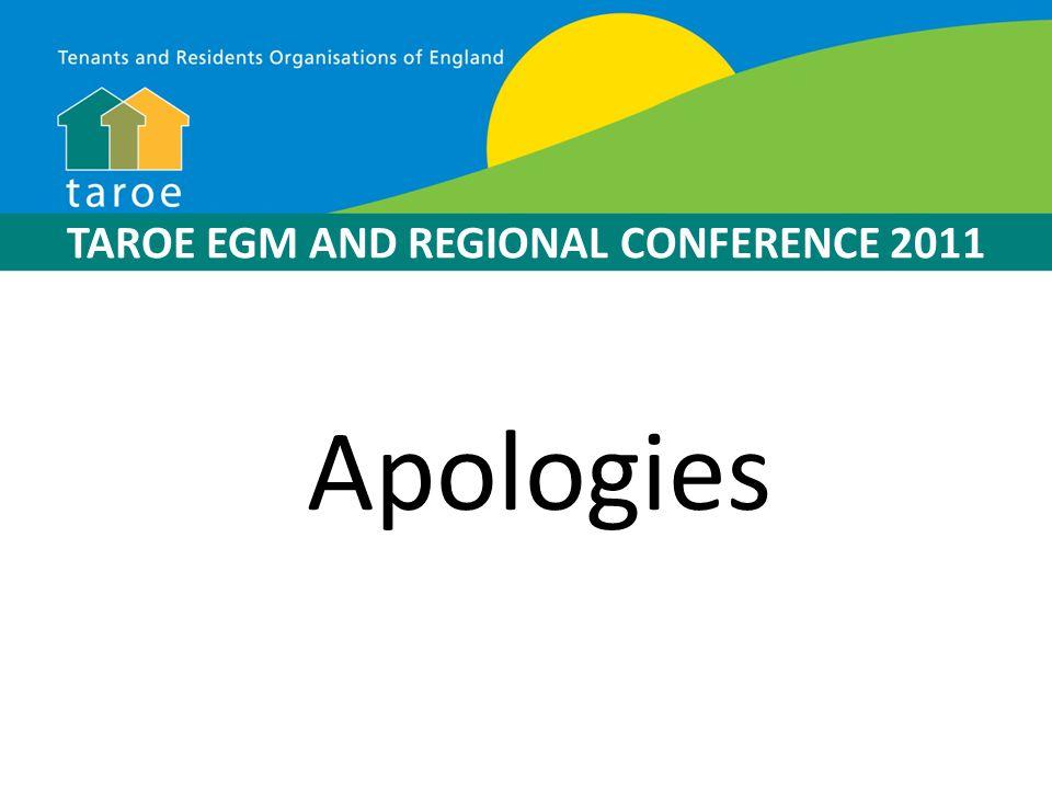 TAROE EGM AND REGIONAL CONFERENCE 2011 Memoradum & Articles Introduced By John Townend