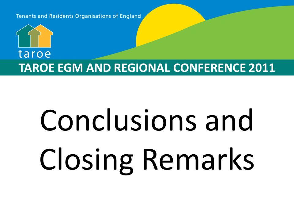 TAROE EGM AND REGIONAL CONFERENCE 2011 CLOSE OF EGM