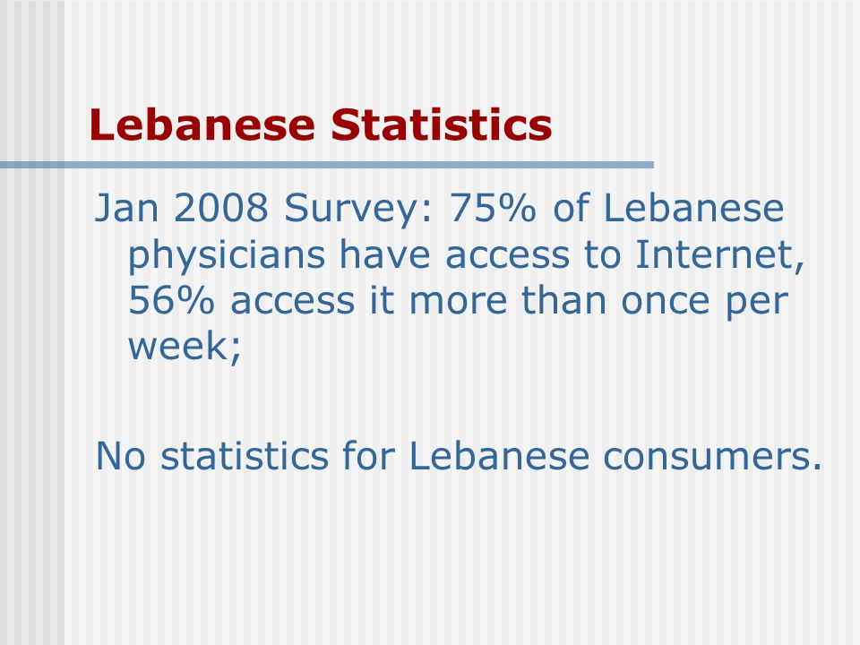 Lebanese Statistics Jan 2008 Survey: 75% of Lebanese physicians have access to Internet, 56% access it more than once per week; No statistics for Lebanese consumers.