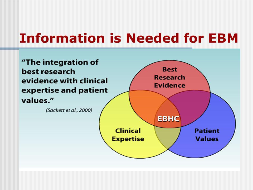 Information is Needed for EBM
