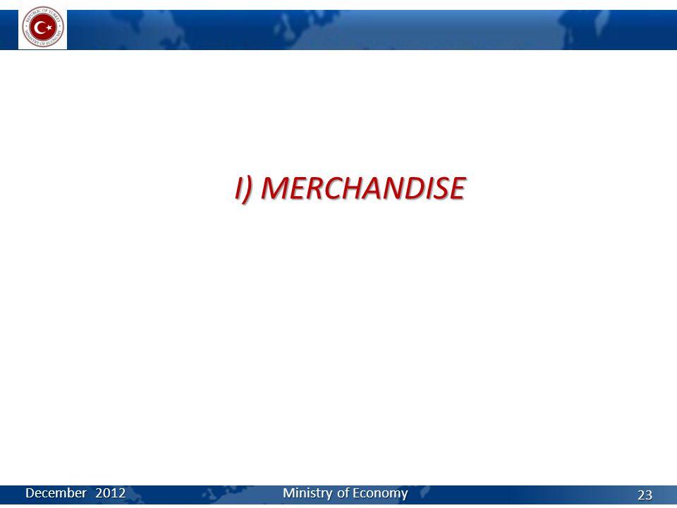 I) MERCHANDISE December 2012 Ministry of Economy 23