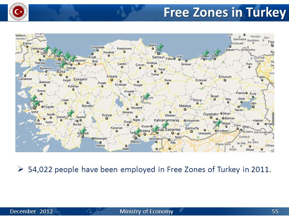Free Zones in Turkey  54,022 people have been employed in Free Zones of Turkey in 2011.