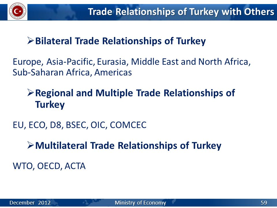 Trade Relationships of Turkey with Others  Bilateral Trade Relationships of Turkey Europe, Asia-Pacific, Eurasia, Middle East and North Africa, Sub-Saharan Africa, Americas  Regional and Multiple Trade Relationships of Turkey EU, ECO, D8, BSEC, OIC, COMCEC  Multilateral Trade Relationships of Turkey WTO, OECD, ACTA December 2012 Ministry of Economy 59