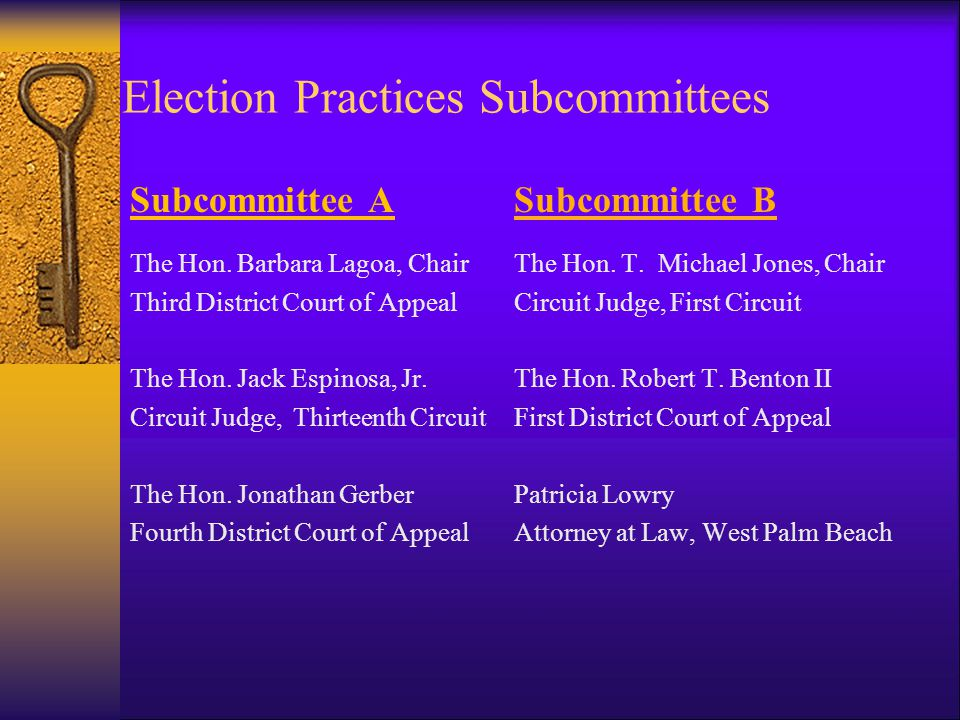 Election Practices Subcommittees The JEAC's election practices subcommittees expedite responses to candidates' questions The Honorable Lisa Davidson,