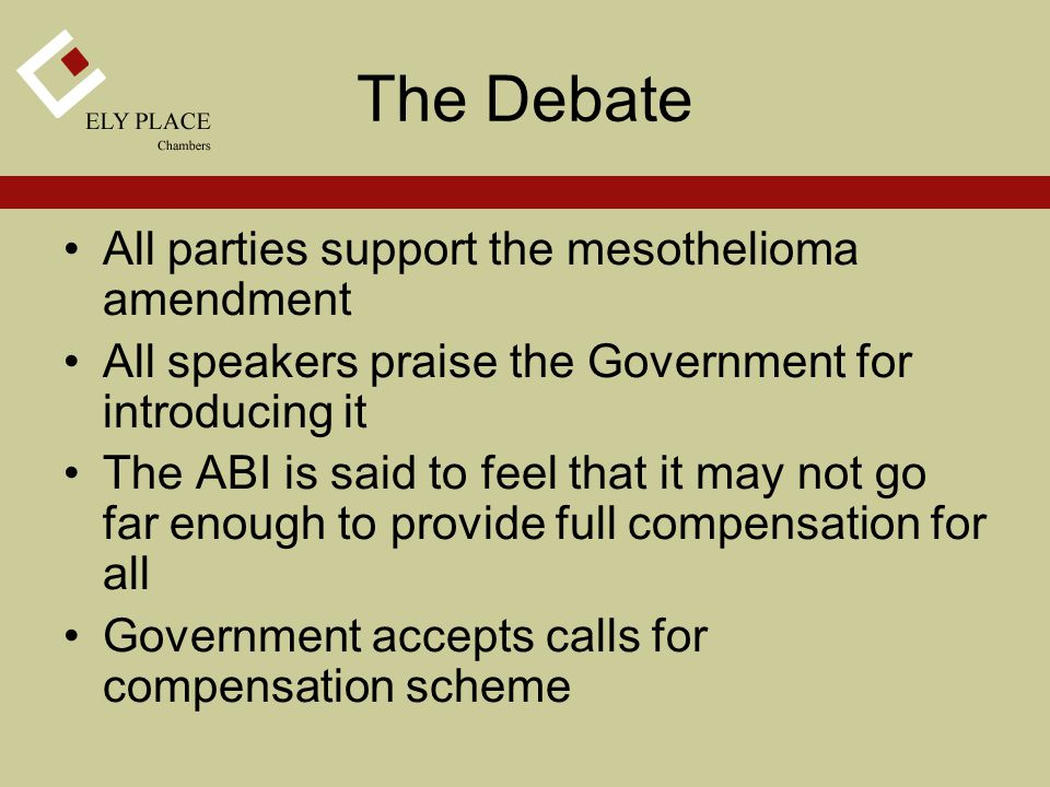 The Debate All parties support the mesothelioma amendment All speakers praise the Government for introducing it The ABI is said to feel that it may not go far enough to provide full compensation for all Government accepts calls for compensation scheme