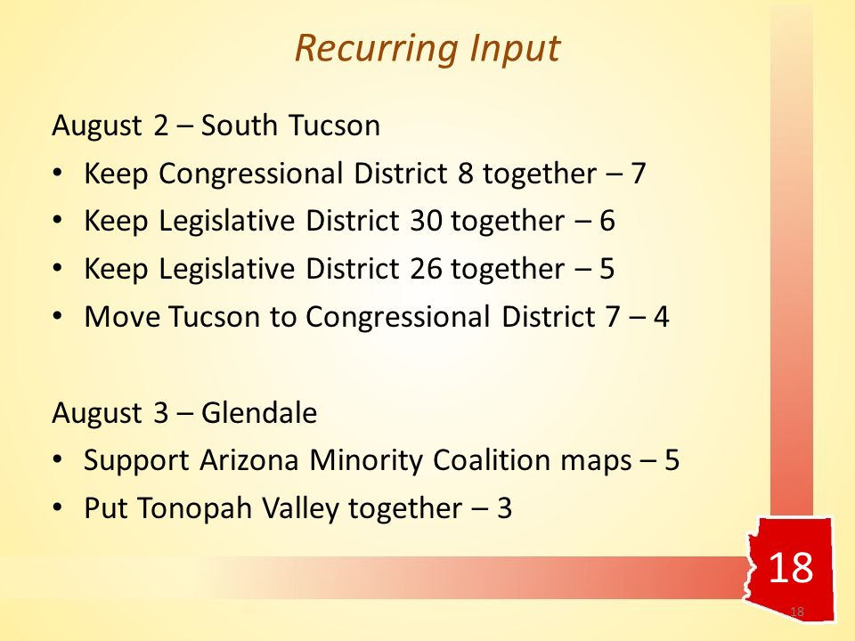August 2 – South Tucson Keep Congressional District 8 together – 7 Keep Legislative District 30 together – 6 Keep Legislative District 26 together – 5 Move Tucson to Congressional District 7 – 4 August 3 – Glendale Support Arizona Minority Coalition maps – 5 Put Tonopah Valley together – 3 18 Recurring Input 18