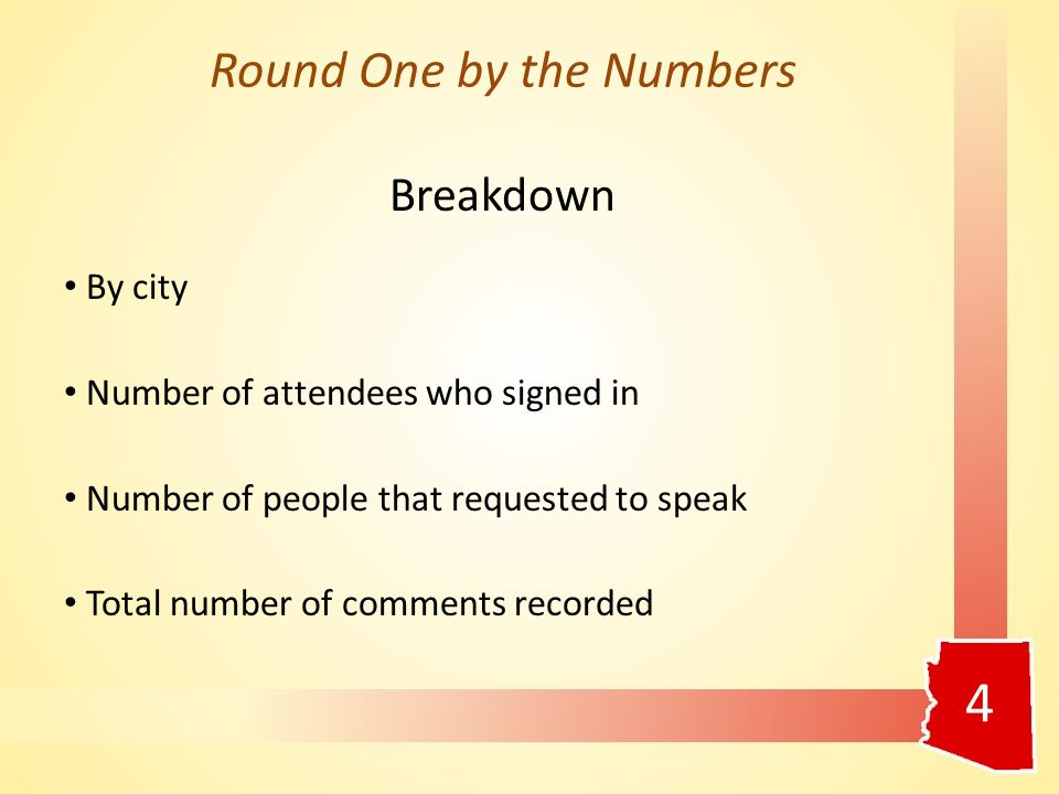 4 Round One by the Numbers Breakdown By city Number of attendees who signed in Number of people that requested to speak Total number of comments recorded